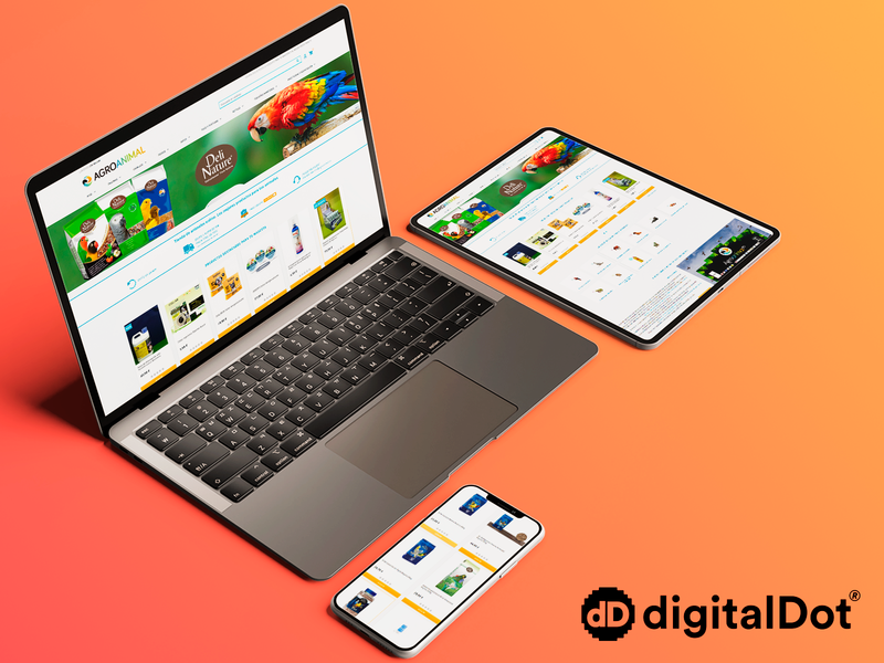 Diseño web Agroanimal birds pet mockup smartphone laptop tablet orange devices shop graphicdesign webdesign design