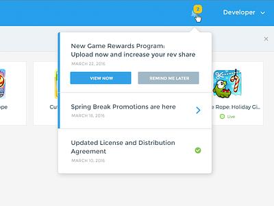 Developer Portal Notifications system portal mobile game developers web html desktop ux interface ui notifications