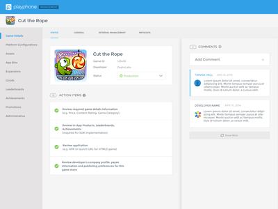 Game Management System Design web experience software ui ux tool internal