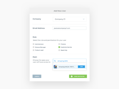 Developer Portal Add Users & Roles system portal mobile game developers web html desktop ux interface ui notifications
