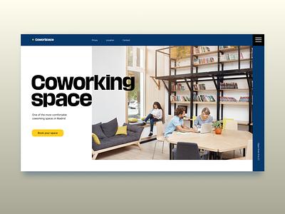 Coworking Space Website webdesign branding minimalistic typography minimalism web ui dailyui design coworking coworking space