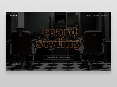 Barber shop One Page dark theme darkmode barbershop minimalistic landingpage minimalism ui webdesign