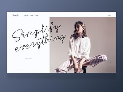 One page Fashion fashion design fashion webdesign minimalistic typography landingpage minimalism design web ui dailyui