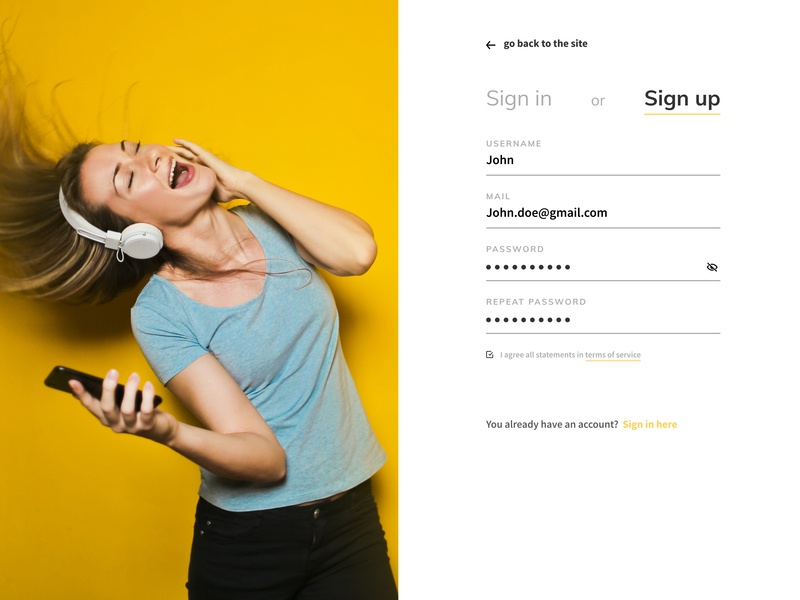Sign Up daily-ui webdesign signup music figma figmadesign website dailyui ui design