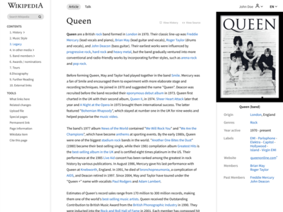 Wikipedia Redesign page design queen webdesign website design uxdesign uidesign sketch figma redesign concept redesign wikipedia