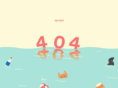Four Oh Four fun pastel colours nautical fish illustration vector flat sea web design error 404
