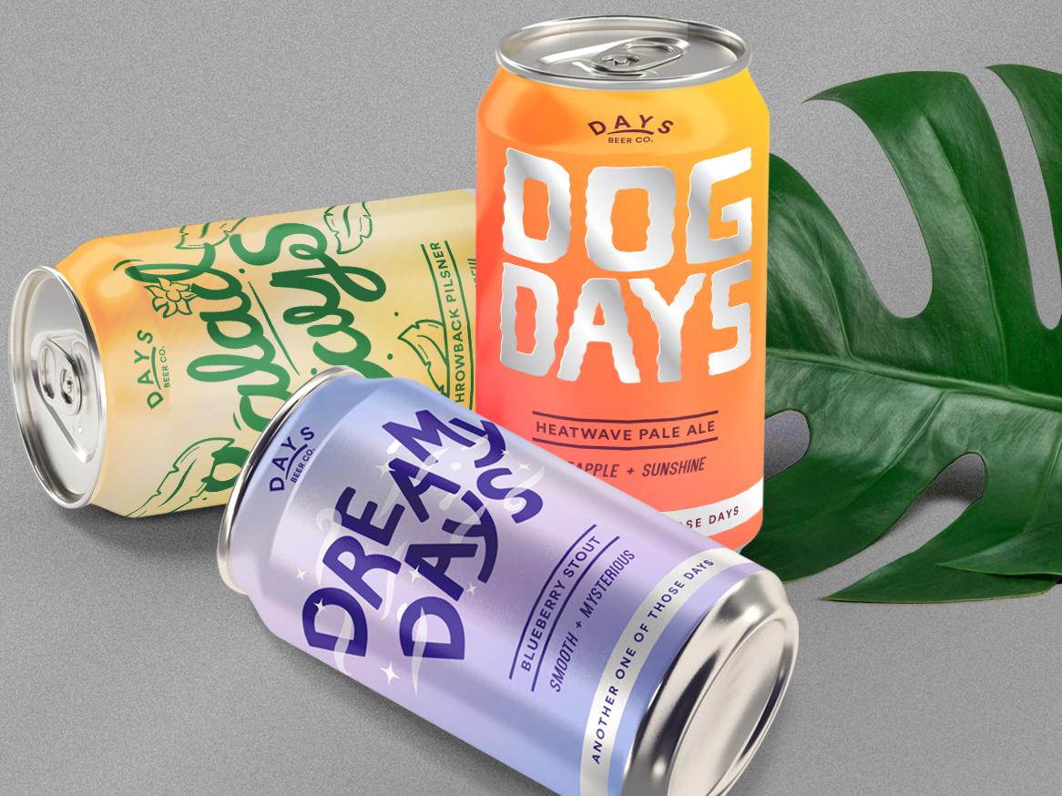DAYS Beer Co. design fun fresh colourful days logo design illustration beverage beer packaging branding
