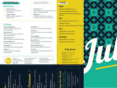 Julep Summer Menu graphicdesign typography design cocktails menudesign julep