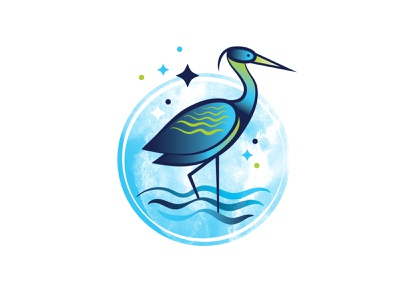 Blue Heron identity watercolor blueheron river water bird illustration bird logo bird