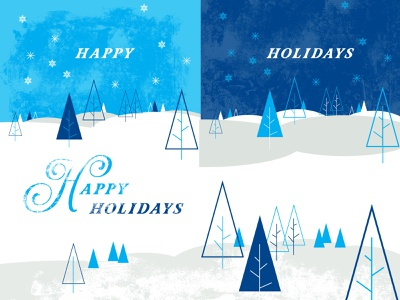 Holiday Artwork holiday design wintry winter trees snow typeface holiday