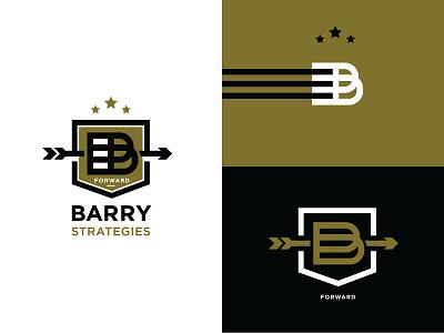 Barry Strategies badge arrow b crest shield design branding