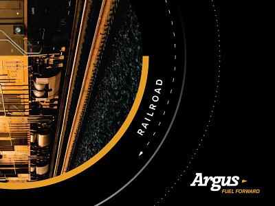 Argus railroad fuel engineering logo branding poster