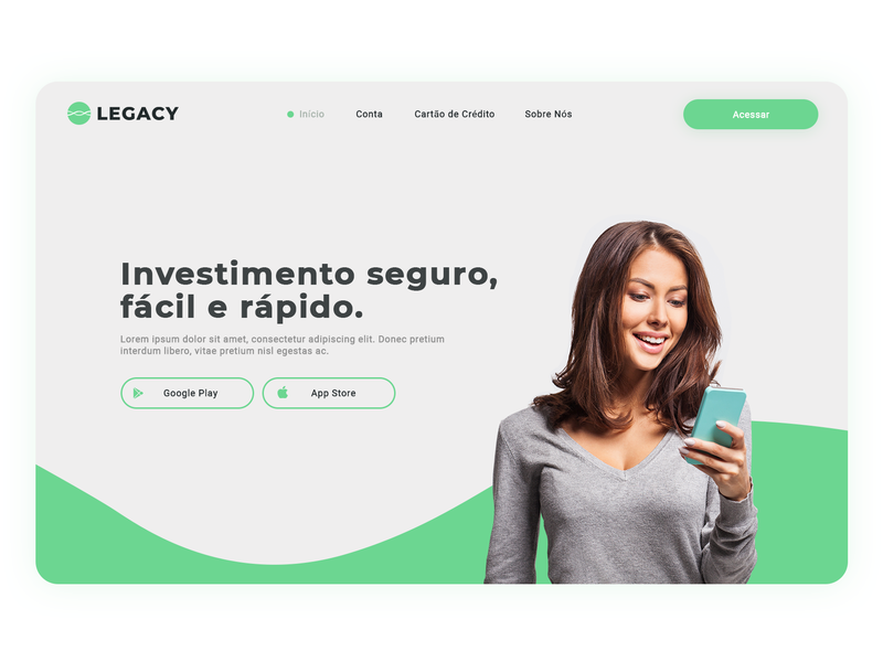 Legacy Investments branding site launch green colored investments bank logo design ux design site design site flow site builder code ui art ux web site