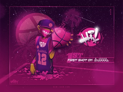 First Shot team street fashion streetwear sport street art pink love heart basketball digital painting design branding illustration
