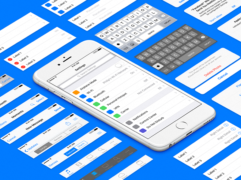 iOS 9 UI Template for Sketch by Philip Amour on Dribbble