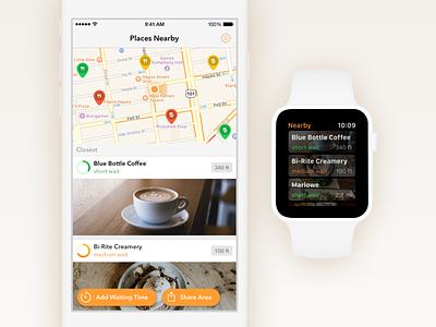 Wait time map list wait line minimal watchos watch iphone ios flat app