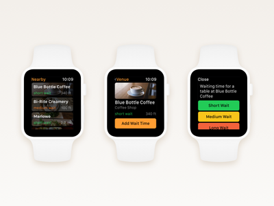 Wait – Add Waiting Time Flow (Apple Watch) app flow watchos apple watch minimal time wait venue discover