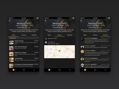 SwiftDine - Venue food dark iphone app ios dine takeout delicious menu order venue
