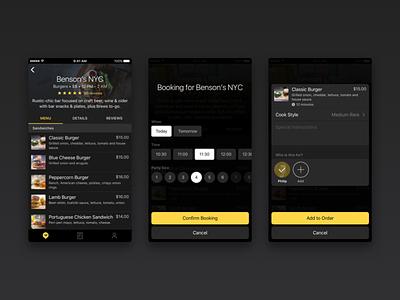 SwiftDine - Add to Order venue order menu table book dine ios app iphone dark food
