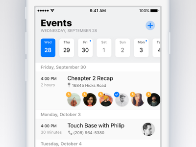 Together – Events ios app iphone light ios 11 ios11 group messages blue events calendar