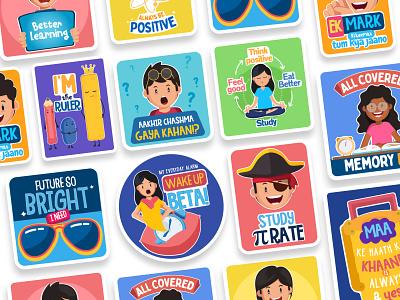 Stickers school stickers kids illustration sticker design stickers schools illustration design kids colors graphics branding
