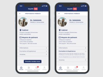 Application santé - Page information médecin sante web app ux ui design