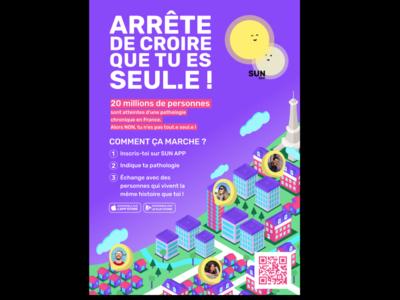 Affiche SUNapp made with Anouk Hervouet fat branding app logo icon illustrator advertising affiche illustration design