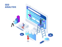 Isometric seo analyses and optimization design concept.