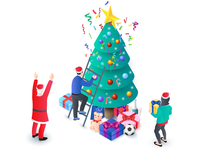 People and Santa Claus decorate christmas tree