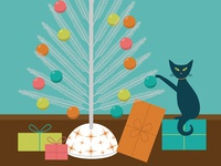 Meow-y Bright Holiday Card