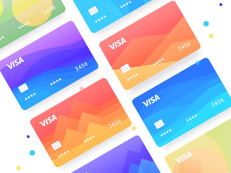 New color visa app design ui illustration icon