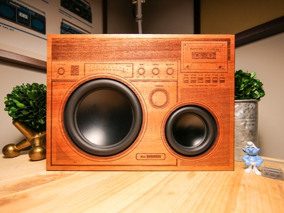 The Big Boombox smurf engraved laser illustration design wooden speakers boombox