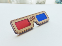 3d Glasses - Wooden Pin