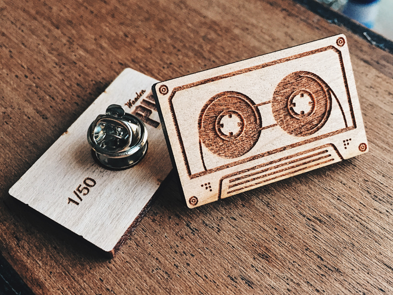Cassette Wooden Pin pins engraved laser boombox tape deck 90s 80s vintage cassette pin wooden wood