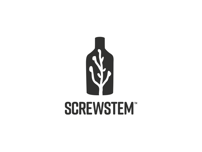 Screwstem Logo logo bw bottle plant mixed drinks bitters screwstem
