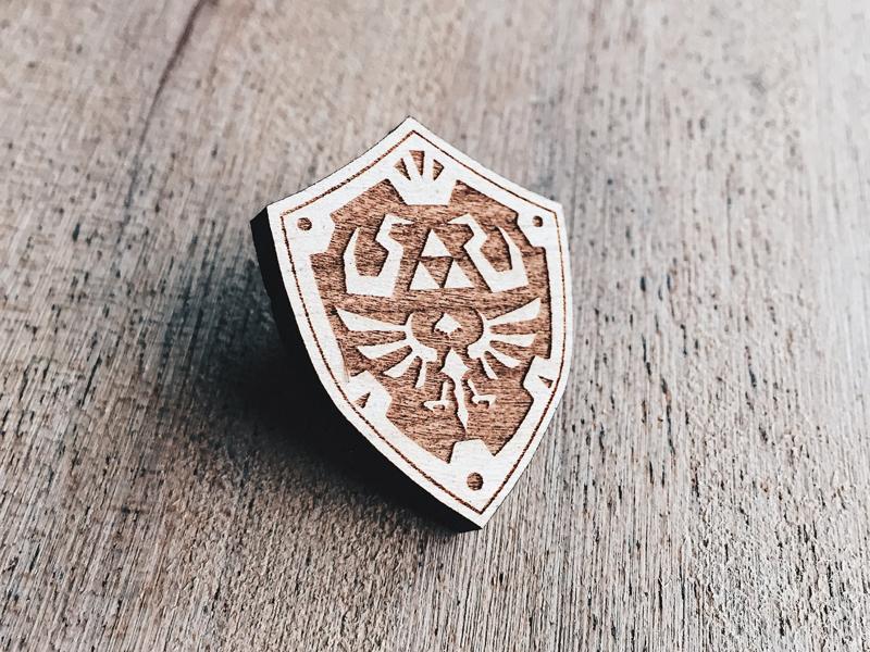 Hylian Shield Wooden Pin engraved laser gaming gamer nintendo link zelda shield enamel pin pins wooden pin