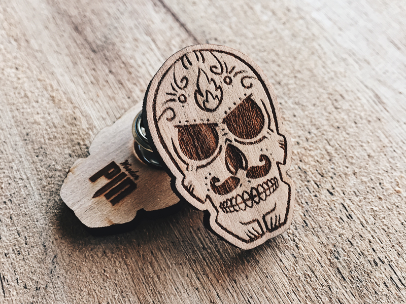 Calavera Wooden Pin enamel pin day of the dead skull engraved laser pin wooden wood
