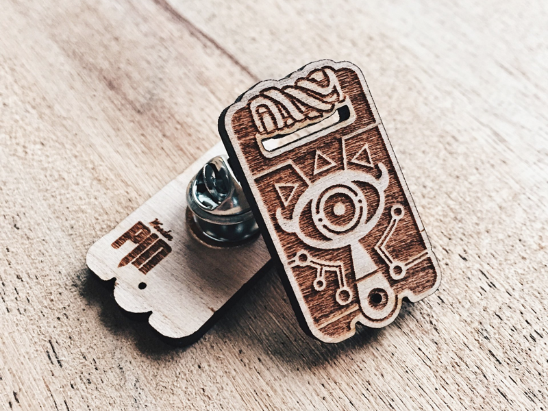 Sheikah Slate Wooden Pin illustration slate cherry engraved laser pin wooden wood breath of the wild sheikah zelda