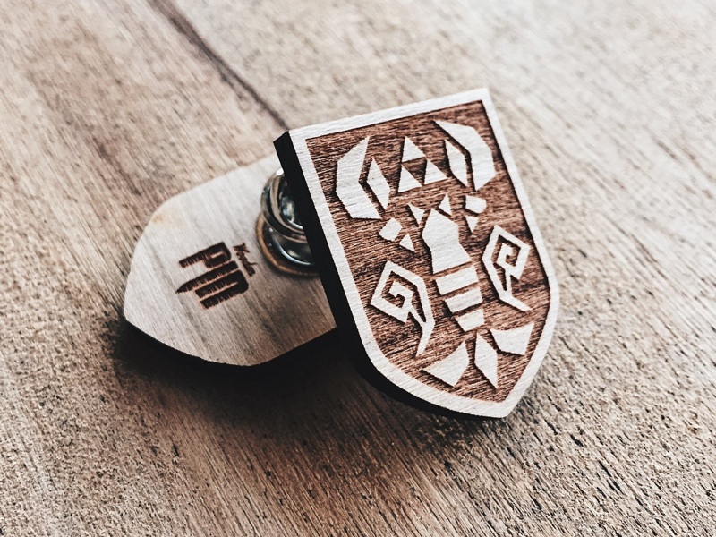 Phantom hourglass wooden shield pin