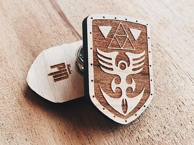 Red Shield Wooden Pin laser engraved laser engraving laser gaming nintendo shield wooden pin enamel pin pin zelda