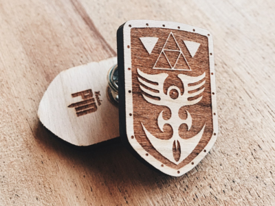 Red Shield Wooden Pin