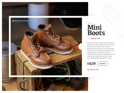Mini Boots Product Card handmade ux ui buy now shoe print pricing product card red wings leather miniature boots mini