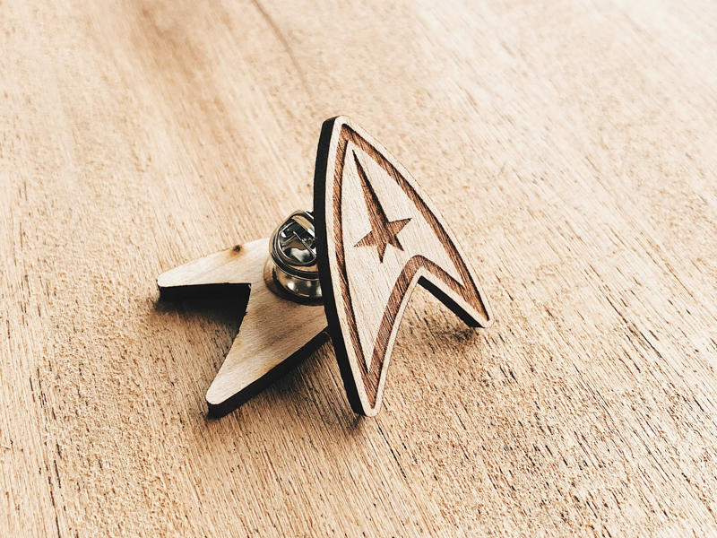 Star Trek Commander Insignia Wooden Pin cherry spock space science scifi star trek enamel pin wooden