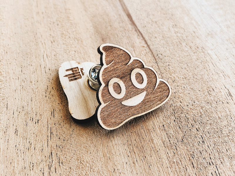 Poop Emoji Wooden Pin hand made custom made enamel pin laser engraved wooden pin emoji