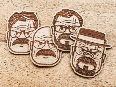 Evolution of Walter White Wooden Sticker Pack
