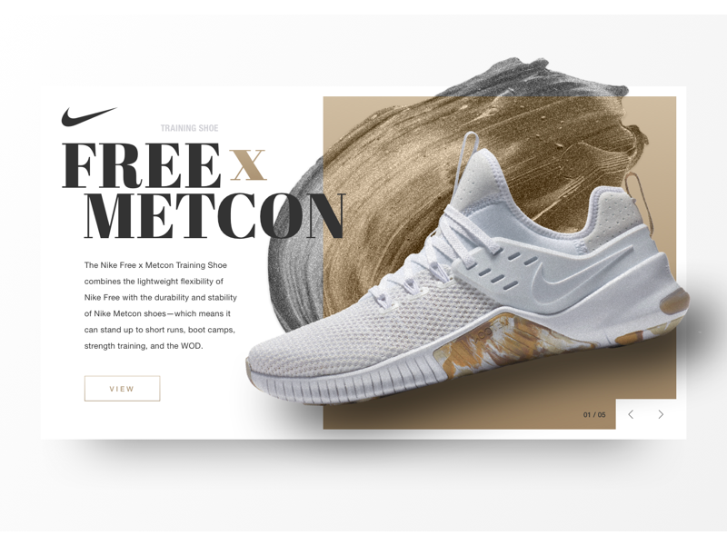 Nike Free x Metcon Shoe Card sketch logo icon white grey gold paint smudge training shoe shoe nike metcon nike free