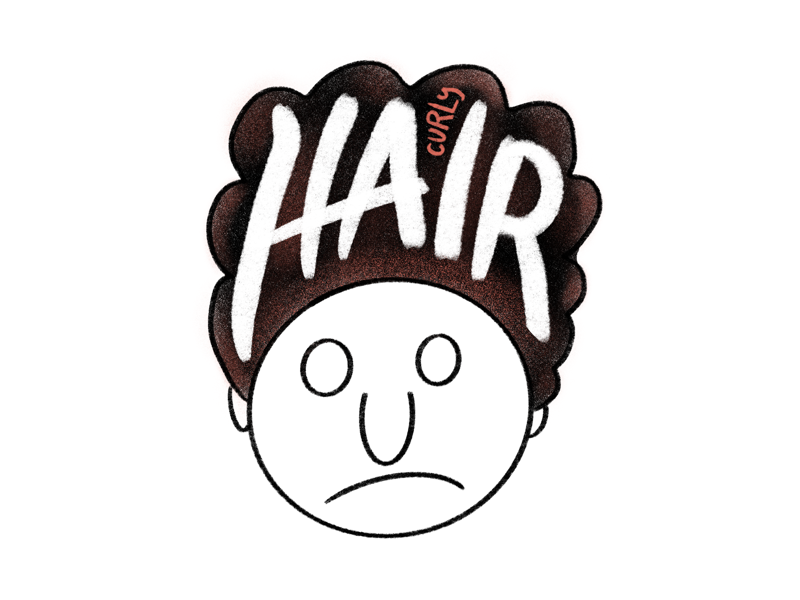 Curly Hair typography type lettering hand lettering pencil sad face airbrush ipad drawing sketch sketching curly hair procreate