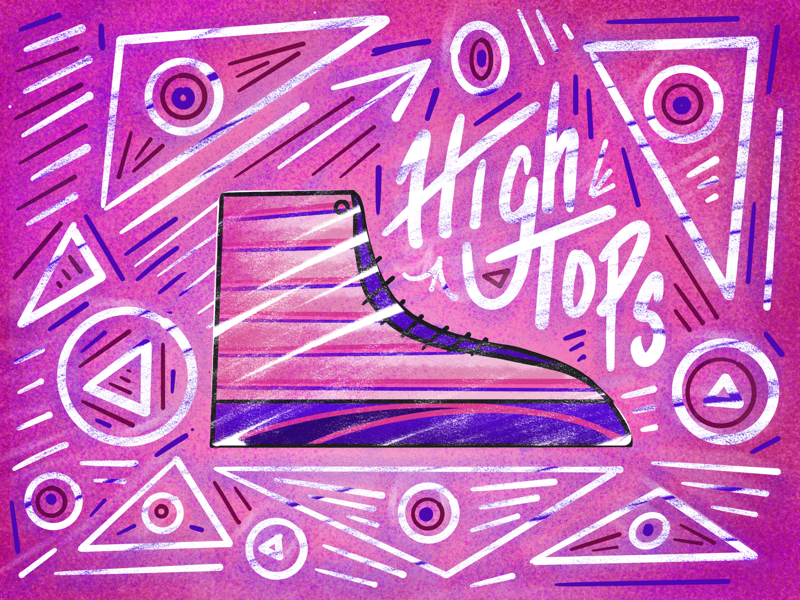 High Tops pattern type typography lettering shapes ipad drawing draw procreate shoes illustration sketch high top