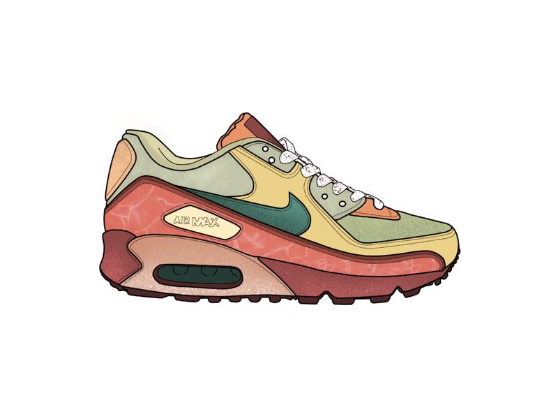 Nike Air Max - Element nike sketching textures texture shading earthy coloring ipad illustration air max airmax