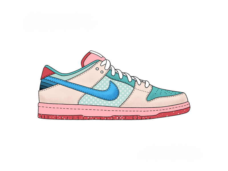 Nike SB Dunk Low - Candy Floss basketball illustration illustrate texture shading coloring ipad procreate shoe top low dunk nike